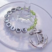 Anchor Personalised Wine Glass Charm - Full Bead Style
